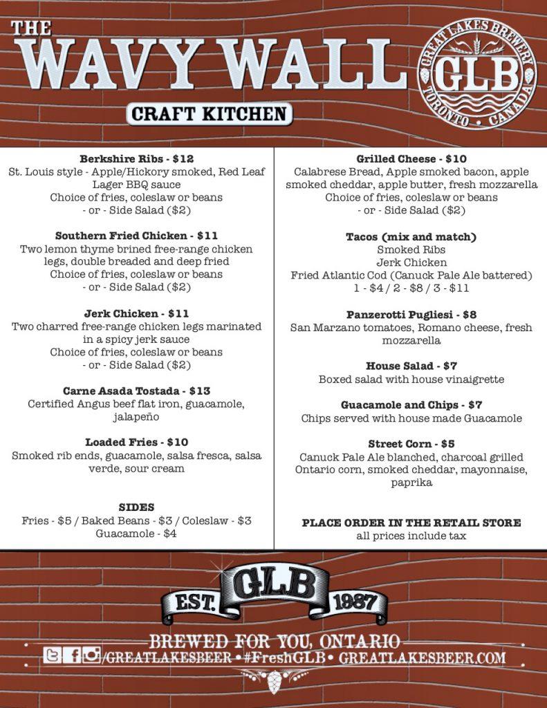 July 19-22 Wavy Wall Menu