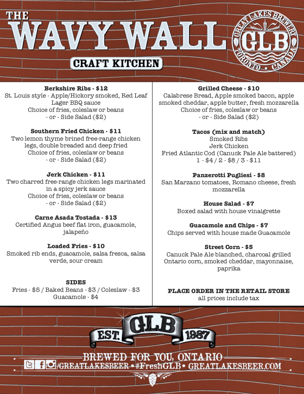 July 19-22 Wavy Wall Menu