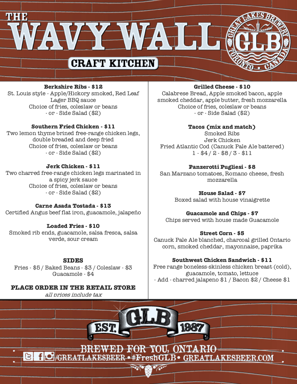 July 26-29 Wavy Wall Menu